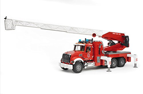 Image of Bruder Mack Granite Fire Engine with Slewing Ladder and Water Pump