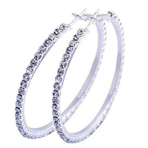 EVRYLON Damen-Creolen groß aus Strass Farbe Silber Eleganz Durchmesser 5,5 cm