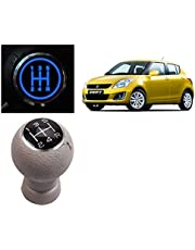 Auto Pearl - Premium Quality Beige Leather Car LED Illuminated Gear Lever Know With Wire For - Swift Type-4