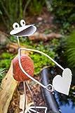 Manufaktur-Lichtbogen Edelstahlfigur Frosch Fabian mit Herz Gartendeko Gartendekoration