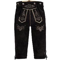 Idea Regalo - Bongossi-Trade Lederhose pantaloni alla zuava in pelle mens con il marrone scuro con giarrettiere GERMAN OKTOBERFEST TRADIZIONALMENTE 52