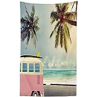 Abakuhaus Surf Tapiz de Pared y Cubrecama Suave, Minivan en la Playa Inspiración Retro Vacaciones
