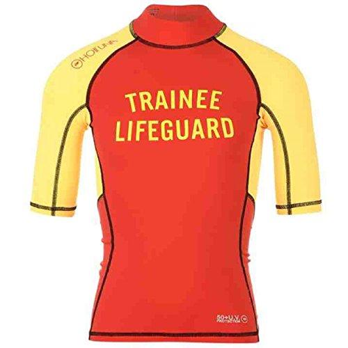 Hot Tonno Bambini Boys Rash Guard a maniche corte collo alto Sport acquatici Red / Yellow Large