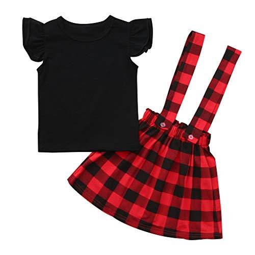 BeautyTop Kleidung Set Baby Mädchen Kleinkind Baby Toddler Kinder kurzärmeligen 2 Stück Kind Baby Kurzarm Spielanzug + Karierte Riemen Rock Zweiteiliger Anzug (Schwarz, 3-4 Years)