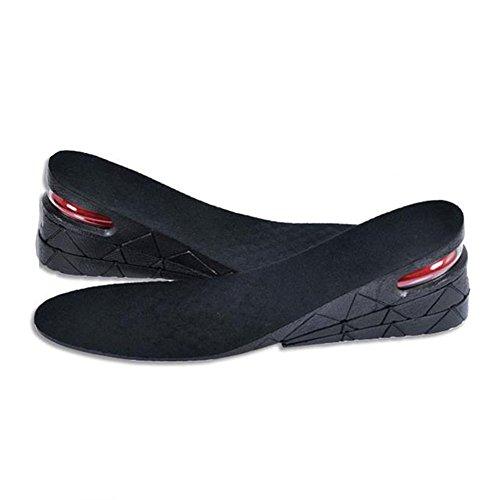 GSPstyle - Soletta a 3 strati, unisex, con cuscinetto ad aria e tacco, aumenta l'altezza, colore: nero