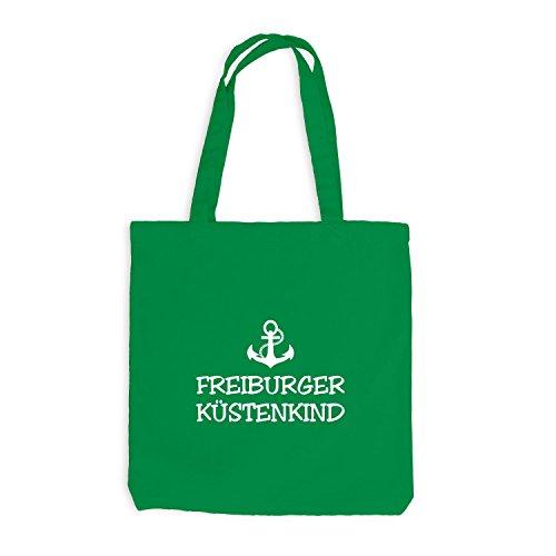 Jutebeutel - Freiburger Küstenkind - Anker Schiffsanker Küste Maritim Kellygrün