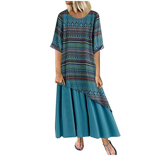 Lulupi Leinenkleid Lang Maxikleid Damen Boho Ärmellos Vintage Geblümtes Übergröße Casual Kleid Elegante Freizeitkleid