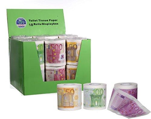6 Rollen Bedrucktes Toilettenpapier Motive Euroscheine 50€ 100 € 500€ Euro je 250 Blatt Geldschein Klopapier 2lagig