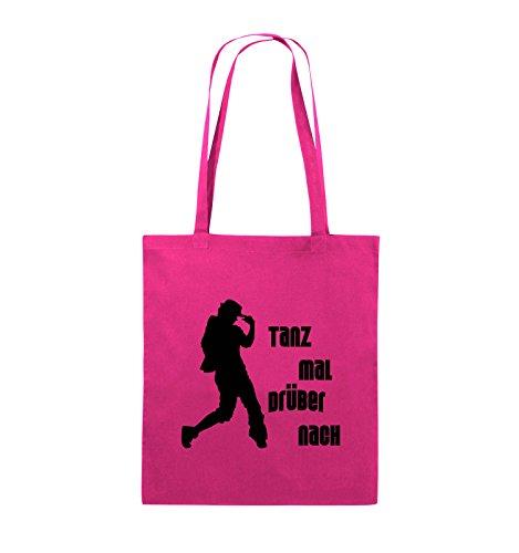 Comedy Bags - TANZ MAL DRÜBER NACH - FIGUR - Jutebeutel - lange Henkel - 38x42cm - Farbe: Schwarz / Silber Pink / Schwarz