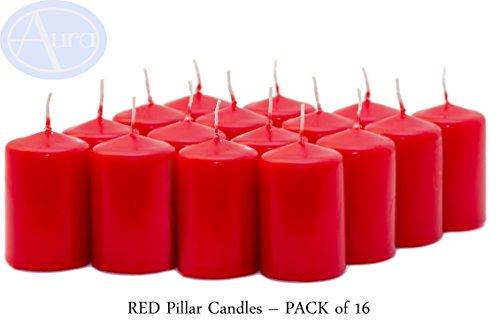 Aura - Velas de Pilar (40 x 60 mm), Color Rojo