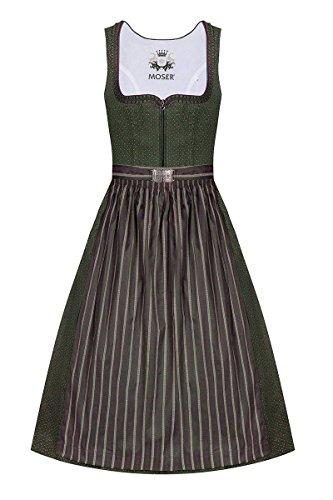 MOSER® Trachten Baumwolle Dirndl Lang 85er Oliv Beere Barbara 005225 von Moser, Rocklänge: ca. 85 cm, mit Reißverschluss, Größe 44