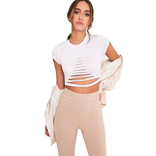 LILICAT Damen Sommer Chic Crop Top Frauen Löcher Kurzarm Casual T-Shirt Bluse Mode Oberteil (S, Weiß)