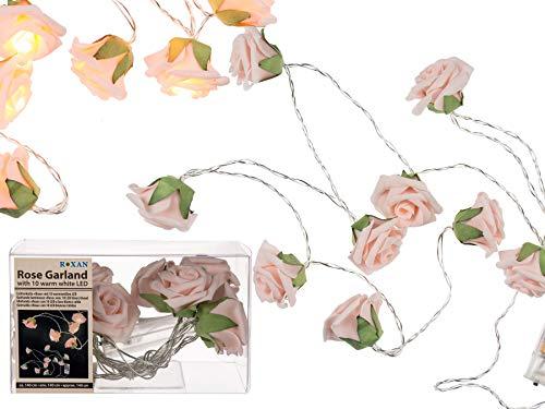 Haus und Deko Rosen Lichterkette innen Blumen-Girlande 10 LEDs batteriebetrieben Romantik Stimmungslicht warmweiß ca. 140 cm Blüten in Zartrosa Rosé (Mini-licht-girlande)