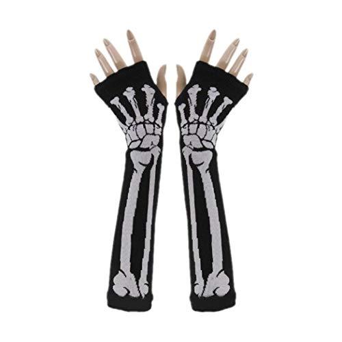 Vovotrade Halloween Schwarz Weiß Skelett Handschuhe Schädel Kostüm Zubehör Geist Knochen für Erwachsene Skelett Handschuhe Geist Skelett Halloween Tanzen Party Kostüm (B)