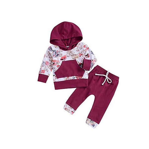 Ropa Bebe otoño Invierno 2018, Recién Nacido bebé niño niña Floral Tops Sudadera con Capucha Pantalones Trajes 2pcs… 1