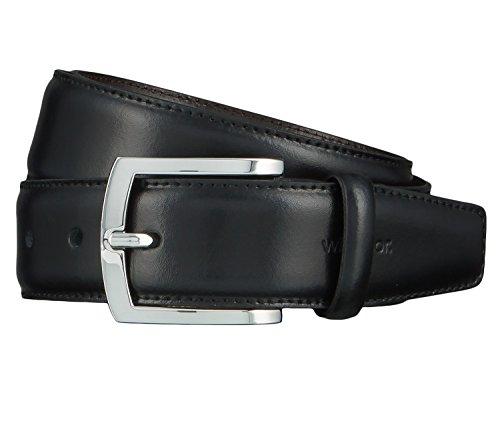 Windsor. Gürtel Herrengürtel Ledergürtel Schwarz 4463, Länge:110 cm, Farbe:Schwarz