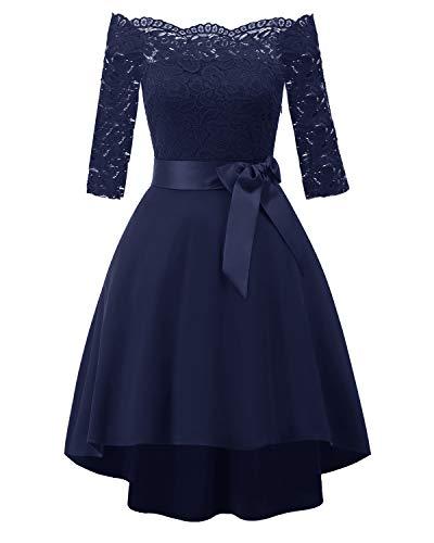 Laorchid Vintage Damen Kleid Spitzenkleid Off Schulter Cocktail Knielang A-Linie 1/2 Arm Navy M (Schwarz Kleid Blau Und Frauen)