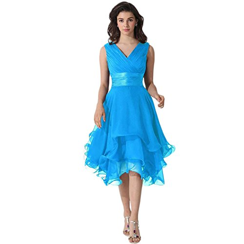 Der Mond Damen Kleid Cocktailkleid Brautjungfernkleid Abendkleid Ballkleid Gaze Kurzes Kleid