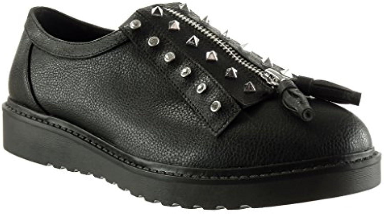 Angkorly Damen Schuhe Derby-Schuh - Plateauschuhe - Nieten - Besetzt - Reißverschluss - genarbtem Keilabsatz 2.5 cm