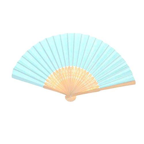 10 Stück Malerei Blank Fan Falten Fan Doodle DIY Papier Zeichnung Fan [blau]