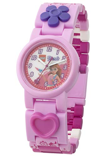 LEGO Friends 8021247 Olivia Kinder-Armbanduhr mit Gliederarmband zum Zusammenbauen , rosa/weiß , Kunststoff , Gehäusedurchmesser 25mm , analoge Quarzuhr , Junge/Mädchen , offiziell