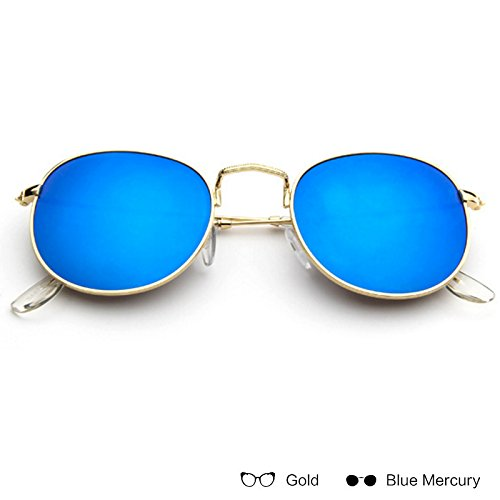 ZHANGYUSEN Fashion Retro Metal All Frame Sunglasses Women Aviator Sunglasses Men Polarized Reflective Sunglasses,Gold W Blue