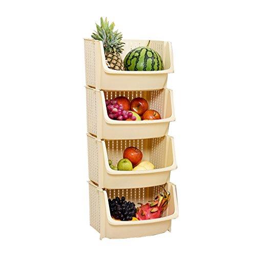 WSGZH Kunststoff gelb Lagergestell stehend 4-Tier stapelbar Korb große offene quadratische Collation Rahmen Boden Art Küche abnehmbare Gemüse Regale Badezimmer