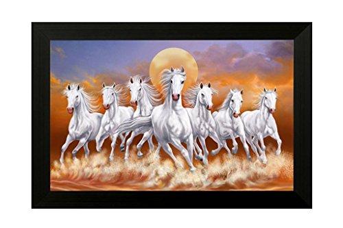 SAF 'Seven Lucky Running Vastu Horses' Painting (Synthetic, 35 cm x 50 cm x 2 cm)