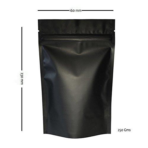 Le Habituelle Stand Up étui noir mat 250 g/m² refermable avec fermeture Éclair 160 x 230 mm – 5 pcs
