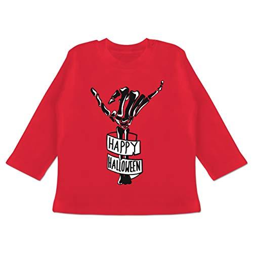 Anlässe Baby - Happy Halloween Skelett Hand - 12-18 Monate - Rot - BZ11 - Baby T-Shirt Langarm