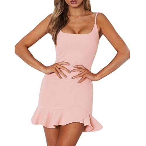 ärmelloses Mini Kleid Dress Rüsche Kleid Strap Partykleid Beachwear Kostüm unregelmäßiges Kleid Basic für Damen (S, Rosa) (Plus Größe Rosa Damen Kostüme)