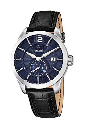 Jaguar Swiss Made Reloj de hombre reloj de pulsera banda de cuero analógico de cuarzo reloj J663, Color azul oscuro