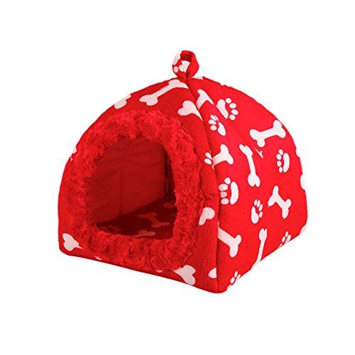 YNZYOG Printemps Été L'automne Hiver Nid d'animaux Nid De Chat Chenil Chaud Niche À Chien Forme D'os Nid De Coton Imperméable Amovible Et Lavable Rouge Orange (Couleur : Red, Taille : XL)