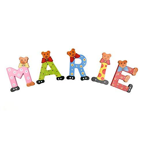 Brink Holzspielzeug Buchstaben Holz Tür Bären ABC bunt Holzbuchstaben Türschild Bunte Kinderzimmer (R) (Abc Holz Buchstaben)