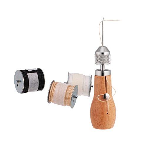 MagiDeal Set Leder Handnähen Nähnadeln Nähmaschine Leder Werkzeuge DIY + Gewachste Schnur Wachsband Wachskabel Für leder Nähen