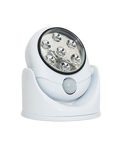 Led extérieur Éclairage de sécurité–en Home pivotant alimentation par batterie détecteur de mouvement sans fil extérieur sans fil résistant aux intempéries lampe à LED avec PIR en Blanc Idéal pour abris, garages et auvents (piles incluses)