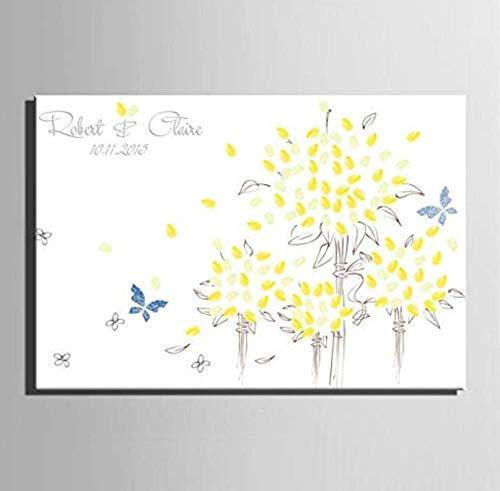 Yqgdss Blume Kindergeburtstag Segen Fingerabdruck Teilnahme Leinwand Zeichnen Anmelden DIY Home Dekorative Malerei Tapete Unterschrift Beste Souvenir -