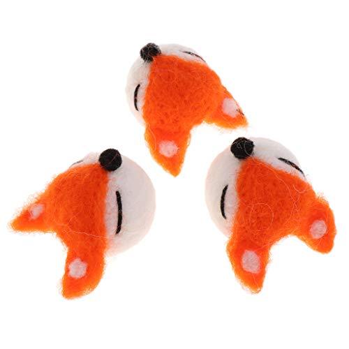 B Blesiya 3 Stück Filz Wolle Filztier Filztiere Dekoration Tier/Obst aus Filz - Orange Tier