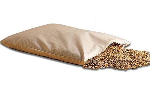 Natur Bio Dinkelkissen 40 x 60 cm mit Reißverschluss - staubdichte Baumwoll Kissenhülle (Kissen-Inlett) - mit Bio Dinkelspelz/Dinkelspreu Füllung