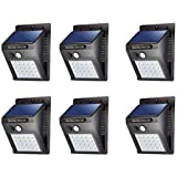 Dressimax Waterproof Bright Solar Wireless Security Motion Sensor 20 LED Night Light for Outdoor/Garden Wall (Black)(Pack of 6)