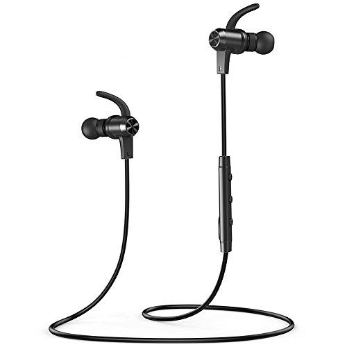 VAVA Bluetooth Kopfhörer 4.1 in Ear Kopfhörer bis zu 9 Stunden Spielzeit AptX, IPX6 Spritzwasserfest mit eingebautem Magnet Ergonomisch gewinkelte Ohrstöpsel, Kabellos mit Mikrofon, Aluminium Design