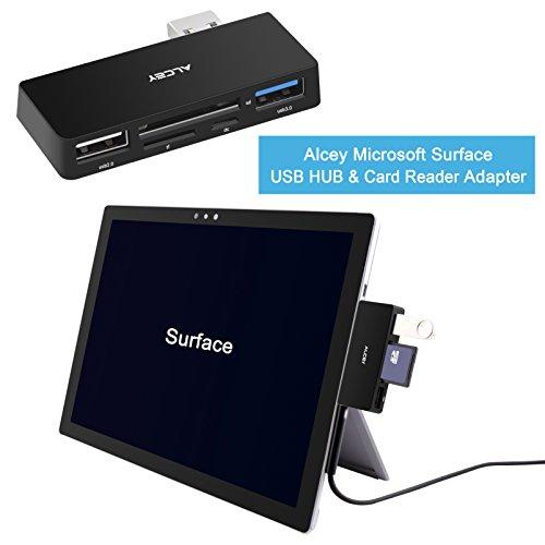 Alcey Microsoft Surface USB HUB 3.0 und 2fach Kartenleser 4 in 1 Adapter - SD/SDHC/MMC4.0, Micro SD/SDHC, USB 3.0 Anschluss, Hub mit optionalem Micro USB Eingang - 4in 1 Erweiterung