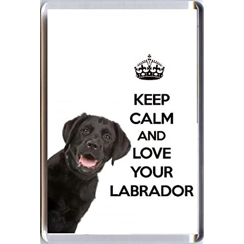 A fridge magnet with a picture of a Black Labrador Retriever Dog with the wording KEEP CALM AND LOVE YOUR LABRADOR from our unique KEEP CALM and CARRY ON gift range. An original Birthday or Christmas stocking filler gift idea for a dog lover! by Yummy Grandmummy