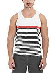 Zobello Mens Sleeveless Bretton Summer Tank(21183B13_Grey/Orange Stripes_Medium)