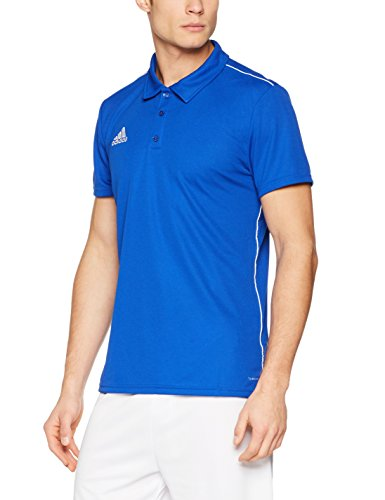 adidas Herren Core 18 Poloshirt, Bold Blue/White, XXL - Blaue Streifen-blues Shirt