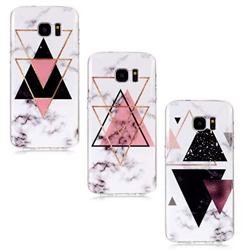 KANTAS 3X Samsung Galaxy S7 Hülle, Silikon Marmor Schutzhülle Marble Hülle Rose Gold Weiß Muster Gummi Gel Ultra Dünn Handyhülle für Samsung Galaxy S7, Dreieck Marmor