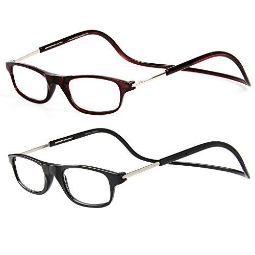 Gafas De Lectura Hombre Mujer Reading Glasses Con Iman OL02(Negro+Marr¨®n,+2.50)