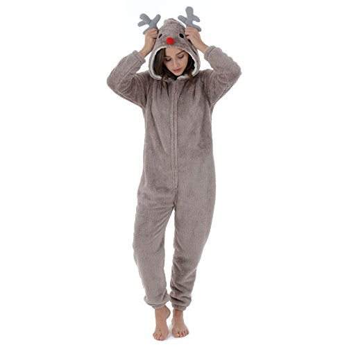4b597cd92e46 Autumn Faith Womens Rudolph The Red Nose Reindeer Fleece All in One Pyjamas  with Hood Ladies