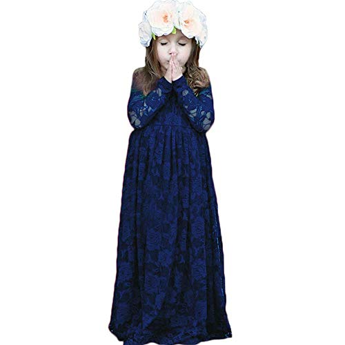 XEJ Mädchen Prinzessin Kleid Spitzen BlumenMädchen Kleid Festkleid Lange Ärmel,Blau, 94 cm (11-12 Jahre),(Herstellergröße 150)