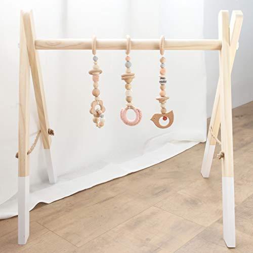 Mamimami Home Spielbogen für Babys Holz Beißring Spiel Gym Spielzeug Montessori Kinderwagenkette Dekor Sensory Charms Kleinkind Pädagogisches Spielzeug mit Aufhänger